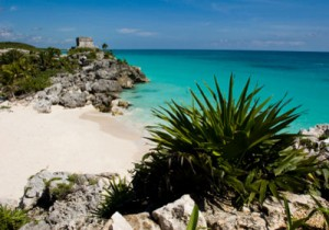 Tulum beach and mayan ruins