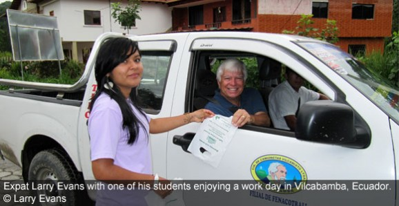 Expat Larry Evans with one of his students enjoying a work day in Vilcabamba, Ecuador. © Larry Evans