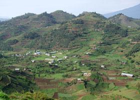 aerial view around Virunga Mountains in Uganda
