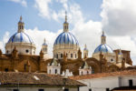 Blue-dome-Cathedral,-Cuenca,-Ecuador