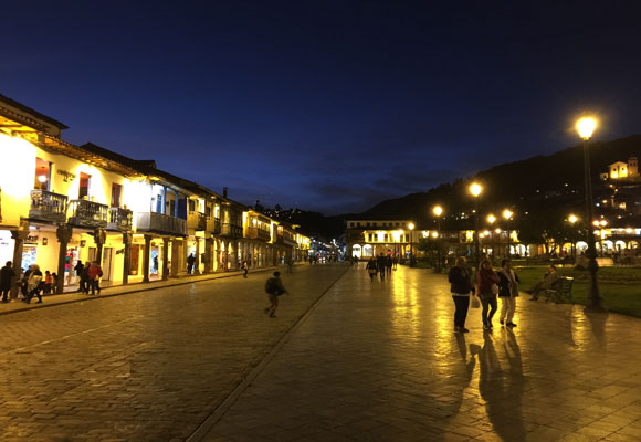 The Plaza de Armas at night. Note how everyone is bundled up as they head out for dinner.