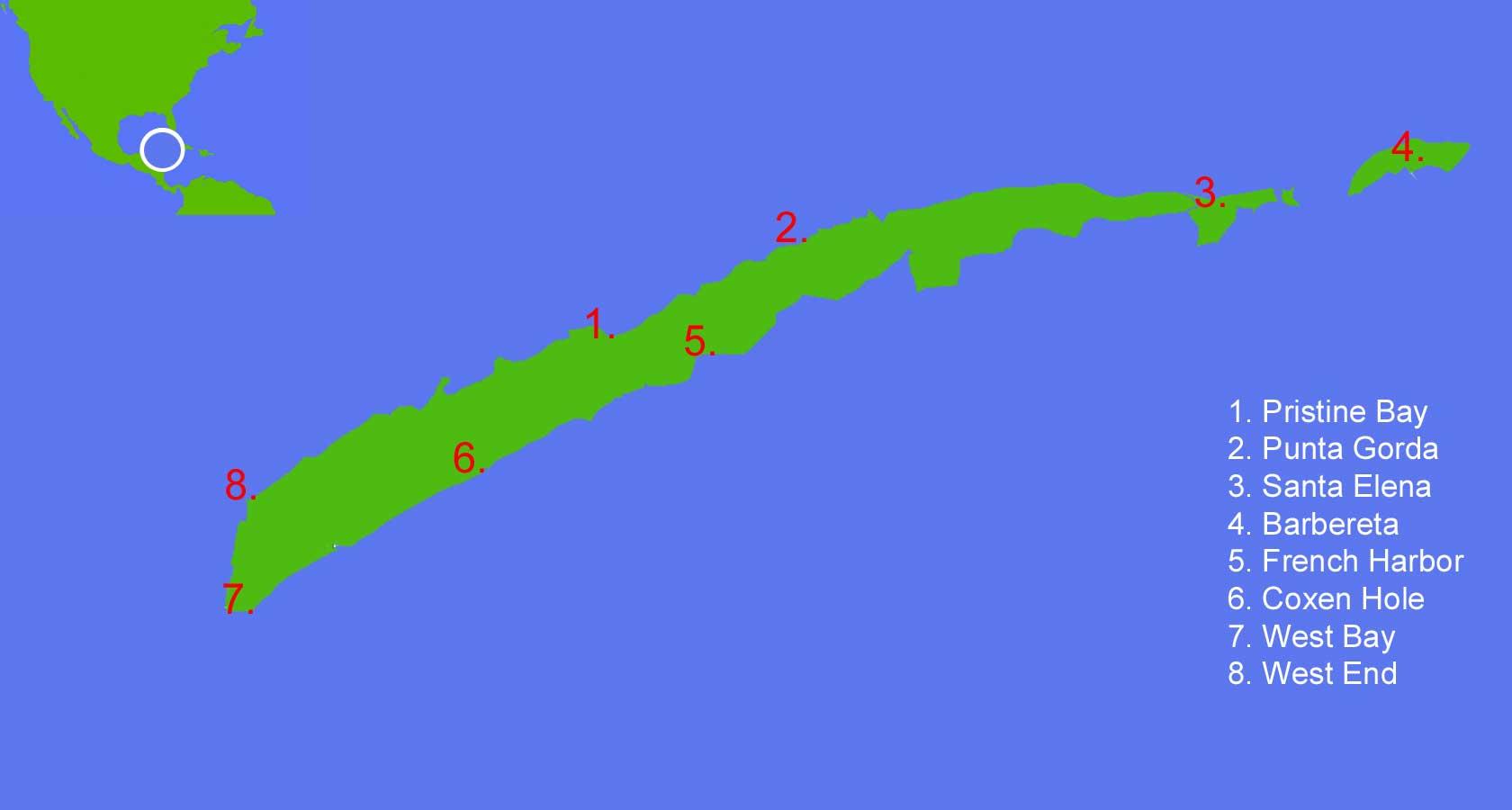 map of Roatan honduras