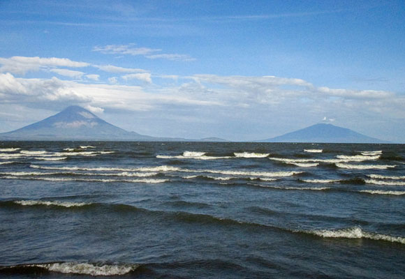 The twin volcanic peaks of Ometepe Island: Concepción, the active of the two, on the left and Maderas, the smaller inactive volcano, on the right.