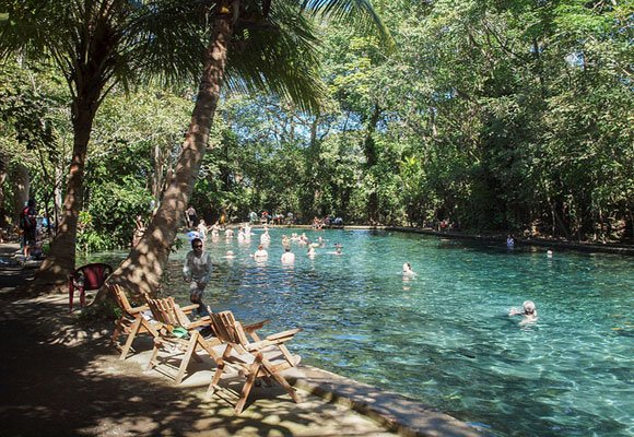 The Ojo de Agua is a natural spring set in the jungle where you are welcome to swim and enjoy the beautiful surroundings.