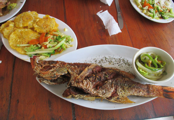 Over on the Caribbean coast, seafood is a main part of the diet. And with fresh catch like this, it's no wonder. $8 a plate.