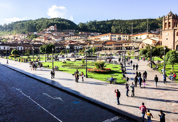 The bustling Plaza de Armas is the centerpiece of Cusco, Peru, which is at 11,000 feet elevation in the Andes Mountains.