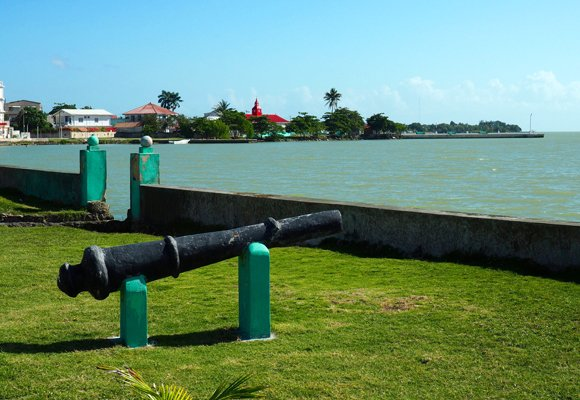 Corozal Town sits on the expansive Bay of Corozal. This attractive view of the downtown coastline is taken from south of town.
