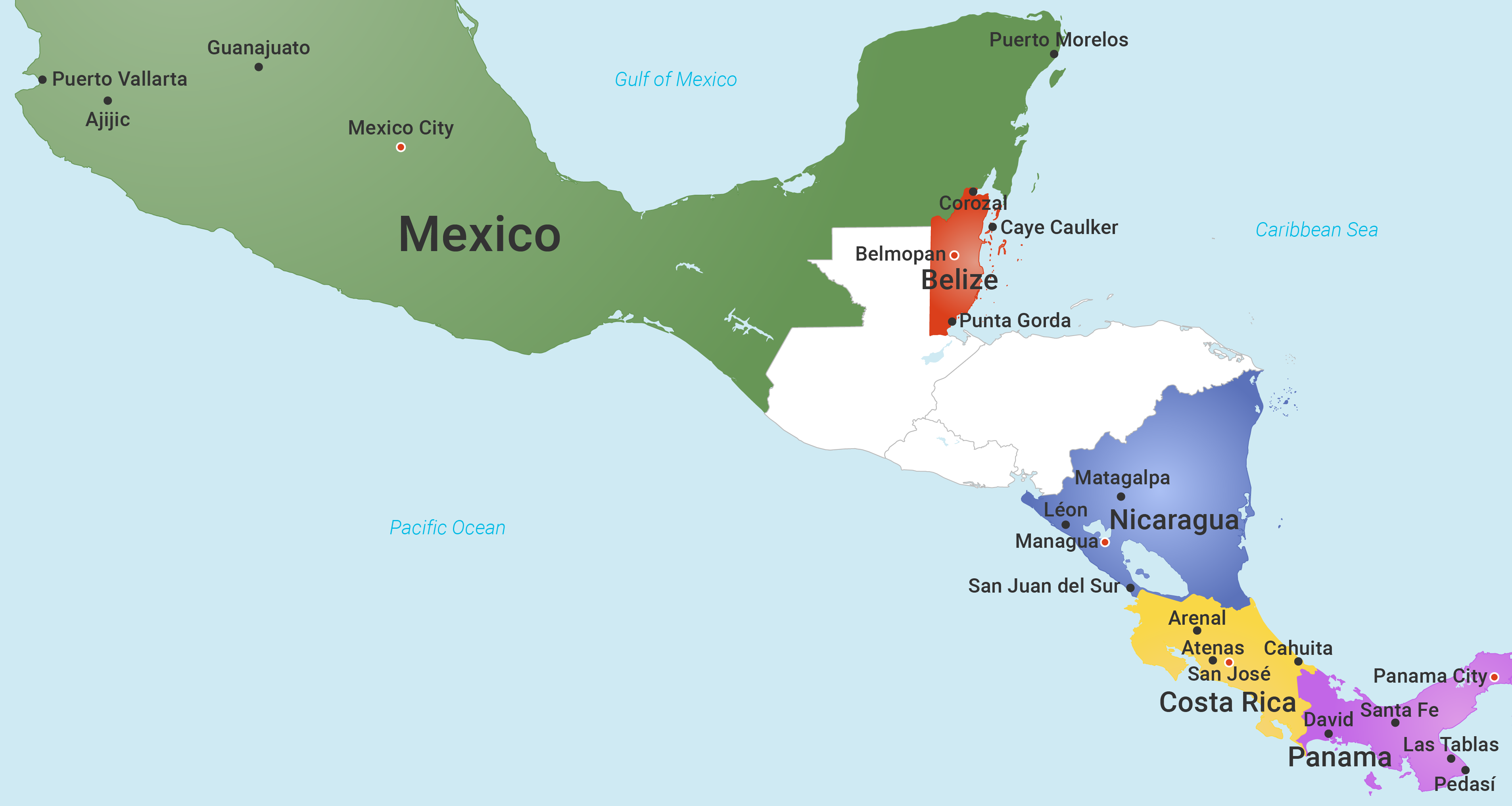 Best Places To Live In Central America Top Towns And Cities - Map of mexico and central america